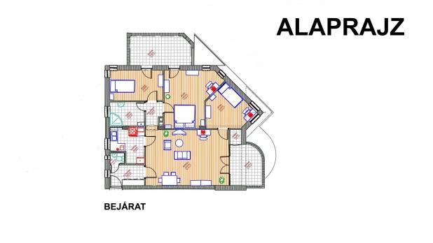 A képen, a kb. 93 m2-es lakás alaprajzi elrendezése látható.