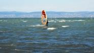 Siófok, szörfbeach. A profik, erős szélben is talpon maradnak.